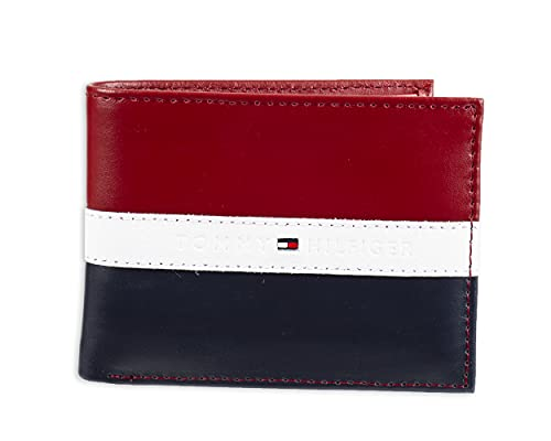 Tommy Hilfiger Men's Leather Wallet – Slim Bifold with 6 Credit Card Pockets and Removable ID Window, Red/Navy, One Size