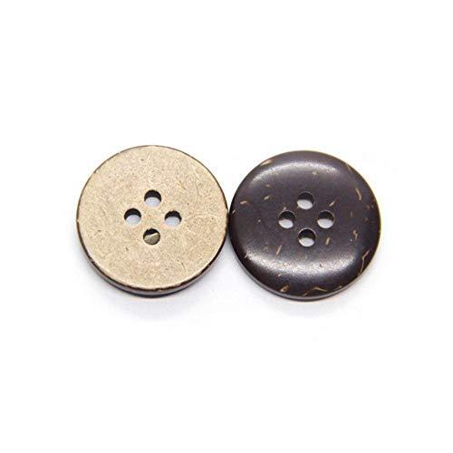 Botón de madera de cáscara de coco ecológico natural para ropa 2/4 agujeros Accesorios de costura decorativos para álbumes de recortes de niños al por mayor-4 agujeros (encerado), 22 mm 10 piezas
