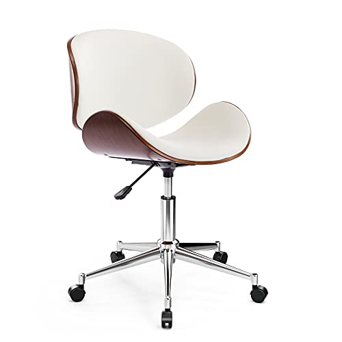 ONPNO Home Office Chair, Solid Bentwood PU Leather Armless Task Chair Mid Century Swivel Durable Computer Desk Chairs (White)