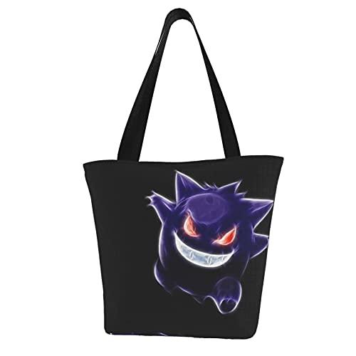 Pokemon - Bolso grande con asa superior para mujer, con cremallera, para viajes, escuela, bolsa cruzada