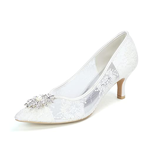 AQTEC Zapatos de Bodas para Mujer Verano Puntiagudo Satén de Encaje Diamante de tacón bajo Elegante Zapatos de Novia para Fiesta Sandalias,Blanco,42 EU