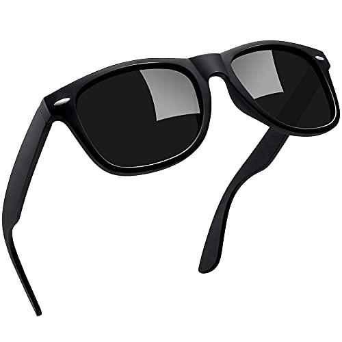 Joopin Gafas de Sol Polarizadas Hombre Retro Clásico Gafas Protección UV400 Vintage Original Mujer 100% Colección de Diseñador Negro Mate