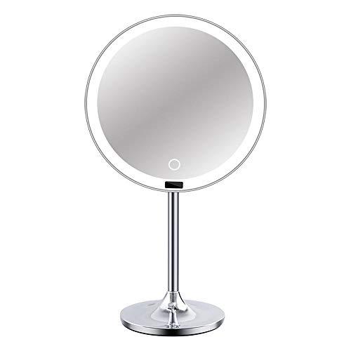 Espejo de cortesía con luces para maquillaje LED, pantalla más grande con espejo de aumento desmontable, regulable, rotación de 180 °, fuente de alimentación doble, espejo LED de alta definición