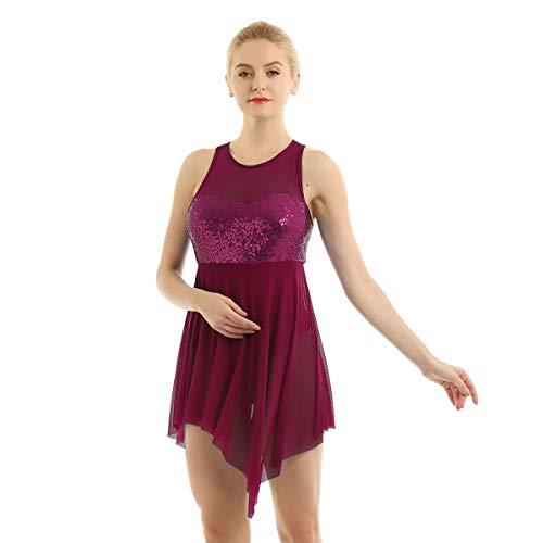 CHICTRY Donna Vestito da Balletto Body da Danza Jazz Abito da Ballo Leotard Body da Ginnastica con Paillettes Glitter Tutu Asimmetrico Dancewear per Saggio Spalline Incrociate Rosso Vino Medium
