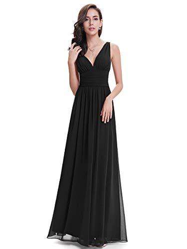 Ever-Pretty Vestito da Ballo Donna Linea ad A Stile Impero Chiffon Scollo a V Senza Maniche Nero 36