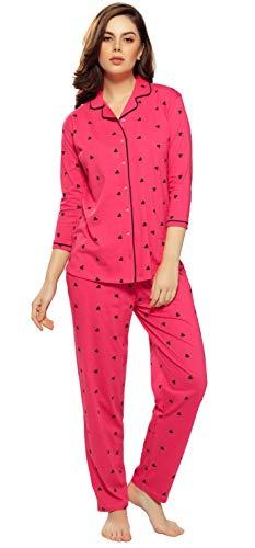 ZEYO Women's Cotton Cherry Pink Heart Print Night Suit Set