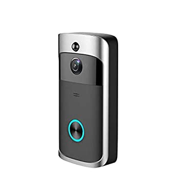WiFi Smart Video Doorbell 720P HD Wireless Remote Home Security Doorbell with Two-Way Talk,166° Super Wide-Angle Lens Motion Detection & Night Vision  Black