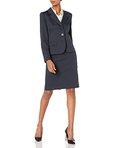 Le Suit Women's Three Button Skirt Suit, Navy, 18