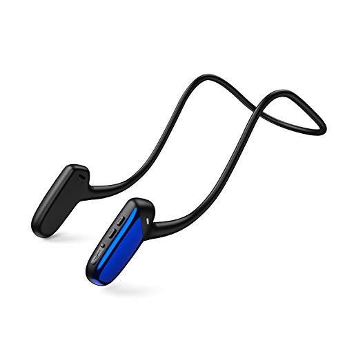 骨伝導イヤホン Bluetooth5.0 イヤホン 骨伝導ヘッドホン 耳掛け式 外音取込み 大容量電池 8時間通話 超軽量 ノイズキャンセリング IPX5防水防滴 ブルートゥース イヤホン ワイヤレスイヤホン スポーツ用 (ブルー)