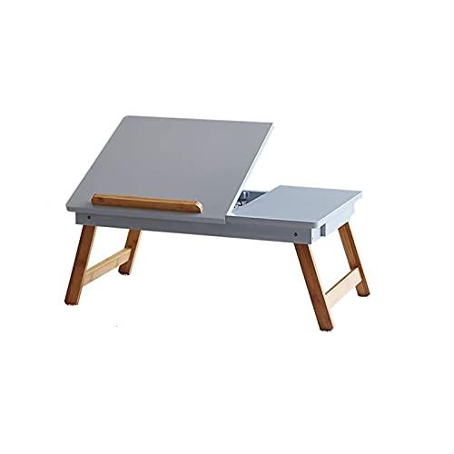 Computadora Mesa para computadora portátil plegable Escritorio para computadora portátil Bandejas de cama para servir el desayuno Ajustable plegable con tapa abatible y patas Soporte de escritorio par