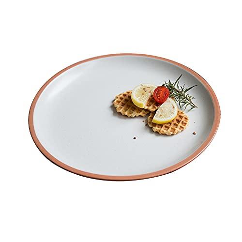Lihuzmd Platos Occidentales, Platos de cerámica Naranja Home Western Restaurant Bistec Platos de Ensalada de Frutas Vajilla