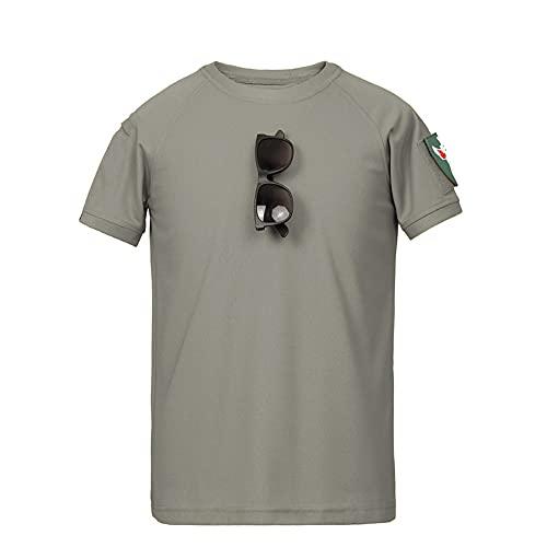 Casuales Camisas Hombre Moderno Holgado Cuello Redondo Color Sólido Hombre Camiseta Verano Única Tendencia Epaulette Diseño Shirt Diaria Casual All-Match Manga Corta E-Grey XL
