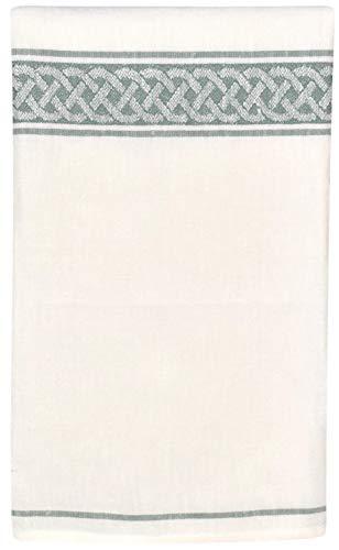 Thomas Ferguson Irish Linen - Celtic Scroll Stripe Green Tea Towel 20 x 28 Inches
