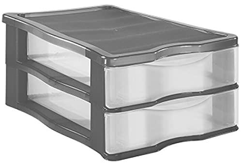 TIENDA EURASIA Cajonera de Plastico de Sobremesa Apilable - Estructura de Color y Cajones Transparentes - Ideal para organizar el escritorio (Gris, 2 Cajones - 36 x 16,5 x 28 cm)