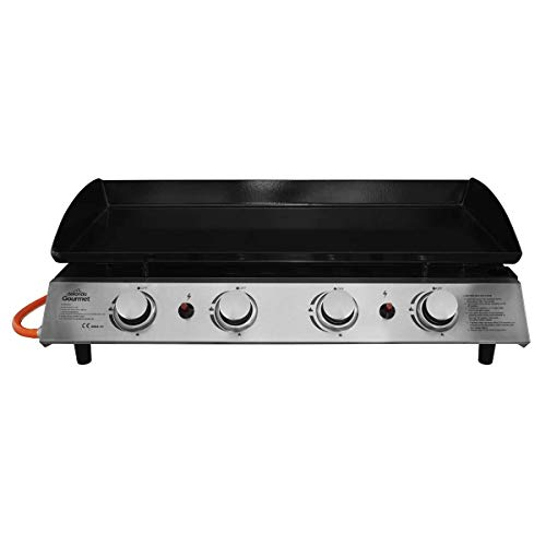 Dellonda 4 Burner Portable Gas Plancha Grill BBQ Griddle with Piezo Ignition, Stainless Steel, 10kW