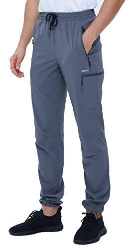 VEOBIKE Mens Golf Pants Elastic Waist Breathable Open Bottom Stretch Mountain Travel Work Pants Zip Pockets