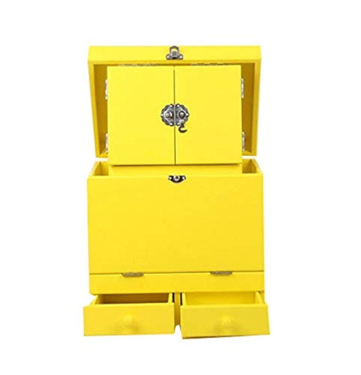 暴露する教えて接続詞化粧箱、黄色のダブルデッカーヴィンテージ木製彫刻が施された化粧ケース、ミラー、高級ウェディングギフト、新築祝いギフト、美容ネイルジュエリー収納ボックス