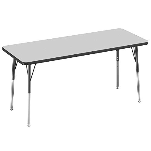 FDP Rectangle Activity School and Office Table (24 x 60 inch), Standard Legs with Swivel Glides, Adjustable Height 19-30 inches - Gray Top and Black Edge