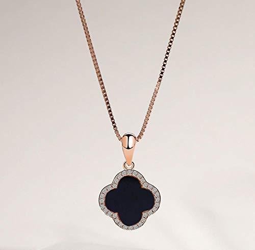 QERTYU s925 Sterling Silber vierblättrige Kleeblatt Halskette weibliche Mode schwarz Achat Anhänger Schlüsselbeinkette Besteck
