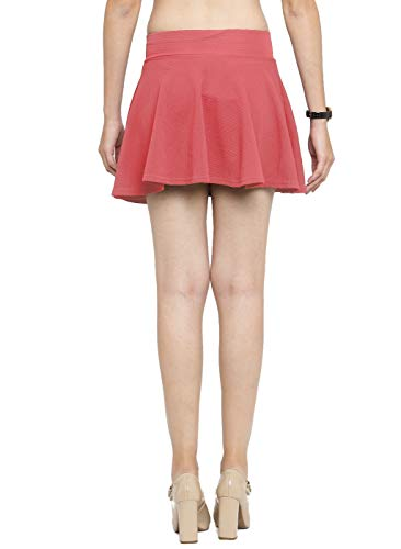 N-Gal Women's Polyester Lycra High Waist Flared Knit Skater Short Mini Skirt -Peach_Large