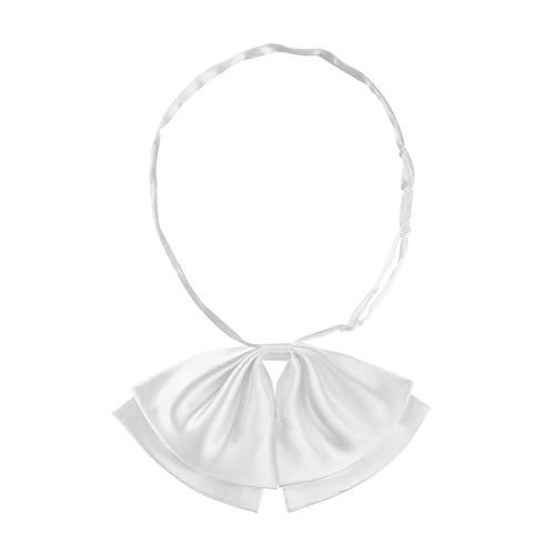Allegra K Damen Vorgebundene Bowknot Einfarbig Verstellbare Fliege Krawatte Weiß 8,5 x 15,5 cm
