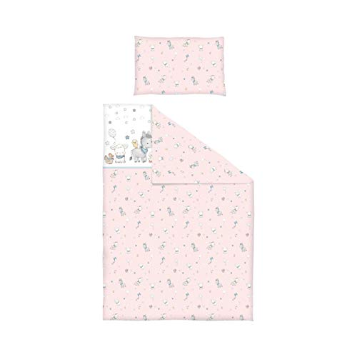 BORNINO HOME Parure de lit réversible 40x60 / 100x135 cm, animaux ferme rose
