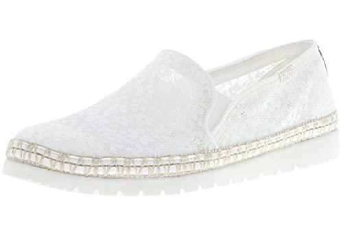 Skechers 113242/WHT Flexpadrille 3.0-Summer Siesta Damen Sneaker Slipper Espadrilles Low-Cut weiß, Größe:38, Farbe:Weiß