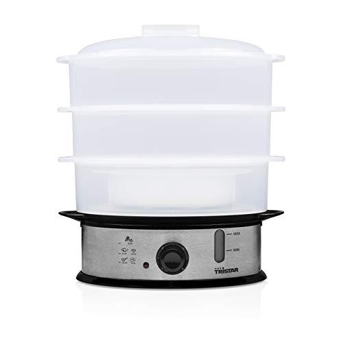 Tristar elektrischer Dampfgarer 1200 Watt mit 3 Garbehältern, 11 Liter Fassungsvermögen, VS-3914, Silber, Kunststoff