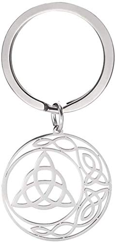 YOUZYHG co.,ltd Collar Vintage religioso Pentagrama Colgante Llavero de Acero Inoxidable Hueco Cortado Amuleto Llavero