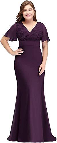 MisShow Damen elegant Übergröße Brautmutterkleid Mutter Kleider Plus Size Abendkleid Maxilang Violett 52