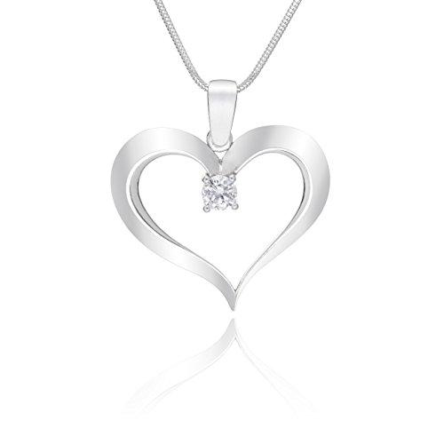 LillyMarie Damen Massive Silberkette Echt Silber Herz-Anhänger mit Zirkonia Klar Längen-verstellbar Hochwertiges Etui aus Holz Beste Geschenke zum Valentinstag