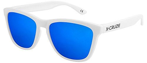 X-CRUZE 9-067 Gafas de sol Nerd polarizadas estilo Retro Vintage Unisex Caballero Dama Hombre Mujer Gafas - blanco mate LS/azul tipo espejo