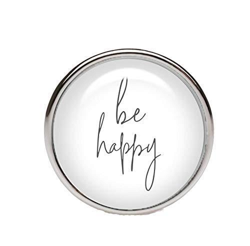 KT-Schmuckdesign Schiebeperle rund, weiß grau, mit Schriftzug be Happy, versilberte Fassung