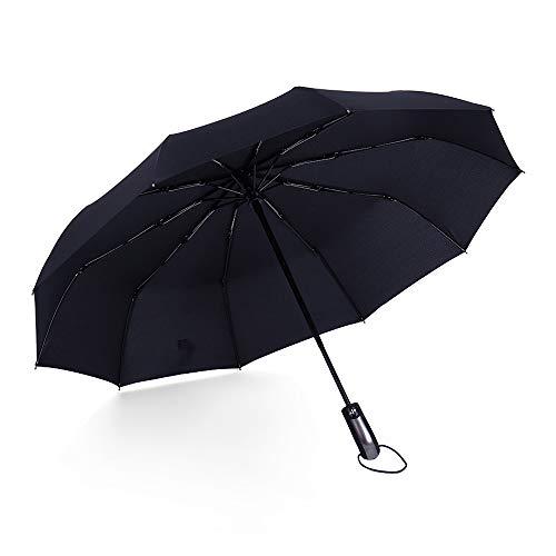 Automatic Travel Umbrella with Teflon Coating, Black (Black)