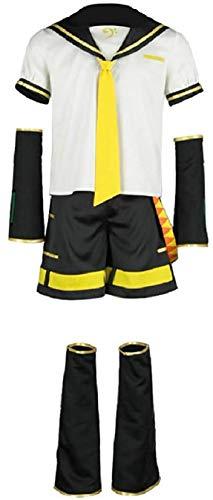 Nsoking Vocaloid Cosplay Kagamine Len Costume Sailor Suit Mens Uniform Halloween Outfit (Mens-M, Black)