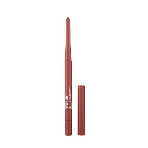 3INA MAKEUP - Cruelty Free - Vegano - The Automatic Lip Pencil 261 - Matita Labbra Retrattile a Lunga Durata - Waterproof - con Pennellino Integrato - Nude Scuro