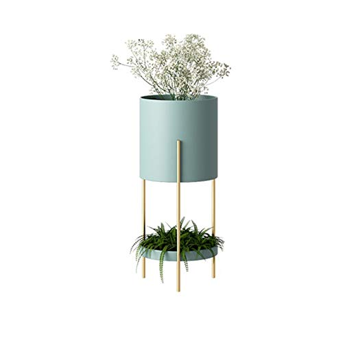YYFANG Plant Flower Stand, Indoor Iron Plant Racks Pot Holders, 2 Tier Tall Splittable Modern Standing Display Rack for Home Decor Fit Pots In Varied Sizes (Color : Blue, Size : 20x60cm)