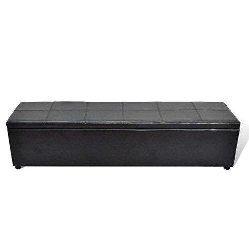 vidaXL Banc Banquette Coffre de Rangement Noir Taille Large Stockage Tabouret