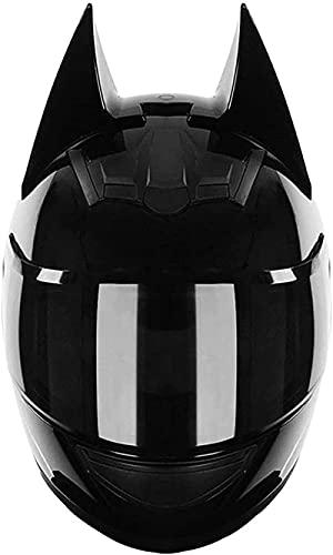 Ghongrm Motocicleta Casco de cara completa Dot Certificado Cat Cat Casco Ear Scooter Electric Scooter Casco Cara Completa Verano Hombres y Mujeres Carreras Pareja Casco de Motocicleta, 54-62cm (Tamaño
