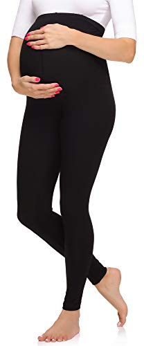Merry Style Leggings Premaman Lunghi Donna MS10-297 (Nero, S)