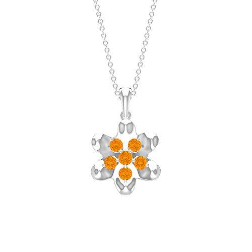 Rosec Jewels 14 quilates oro blanco redonda Orange