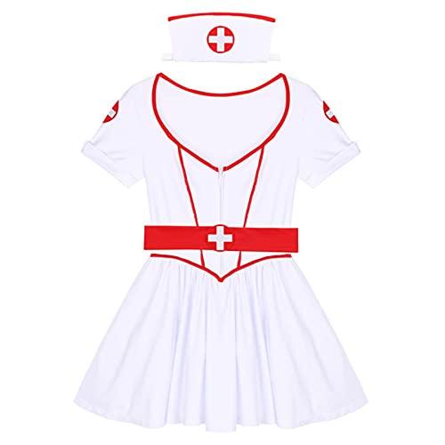 Cloudy Vestido de Enfermera Porno Uniforme Mujer Adulta Enfermera traviesa Ropa de médico Halloween Sexy Maid Cosplay Disfraz Fantasy Club Set
