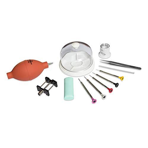 BERGEON Base Kit No 1 – Nützliches, erstklassiges Sortiment für UHRMACHER – Ausgewählte Spezialwerkzeuge – Inklusive Lupe – 'Swiss Made'