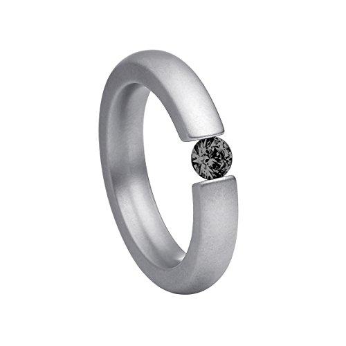 Heideman Ring Damen Spannring schmal aus Edelstahl Silber farbend matt Damenring für Frauen mit Swarovski Stein Zirkonia schwarz im Brillant Schliff 4mm