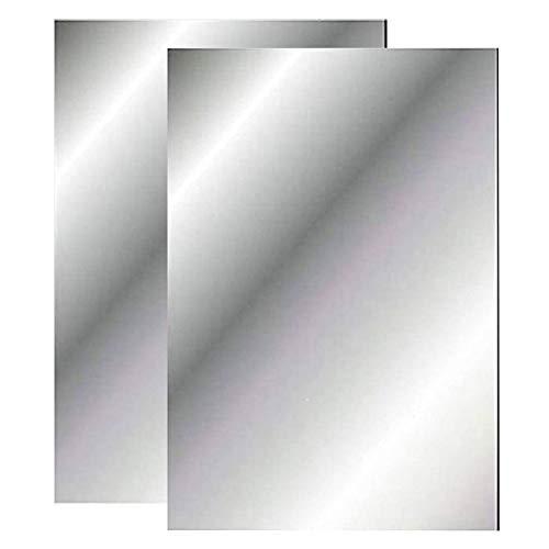Espejos de pared de plástico con espejo autoadhesivo, hojas de espejo flexibles, suaves no de vidrio, espejo adhesivo para decoración del hogar, sala de estar, dormitorio (2 unidades)