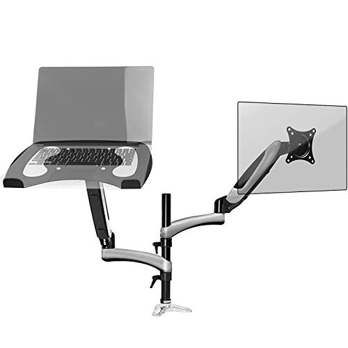 Duronic Desk Mount DM65L1X1 | Dual Gas-Powered Monitor Stand for 15-27 Inch Screen | Laptop | Twin Arms | Adjustable Support | VESA 75/100 Bracket | Tilt 15-27-90°/+85° Swivel 180°Rotate 360°