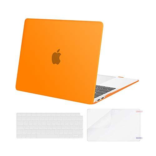 MOSISO Case Compatible con MacBook Air 13 Pollice 2020 2019 2018 Uscita A2337 M1 A2179 A1932 con Retina, Custodia Rigida in Plastica&Tastiera Cover&Proteggi Schermo, Arancia
