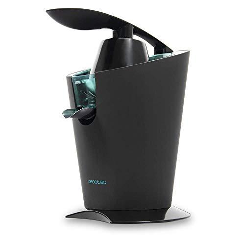 Cecotec Elektrischer Zitrusensafter Zitrus 160 Vita - Rostfreier Edelstahl- Filter y 2 abnehmbare Kegel, kontinuierliches Absaugsystem und 160 W Leistung (Schwarz)
