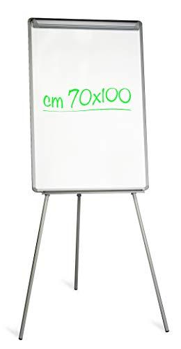 Lavagna Professionale Magnetica Bianca a cavalletto con Portablocchi, 70 x 100 cm