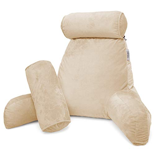 Nestl Reading Pillow, Includes 1 Extra Large Bed Rest Pillow with Arms + 2 Detachable Pillows - Premium Shredded Memory Foam TV Pillow, Neck Roll & Lumbar Support Pillow - Set of 3 - Beige Cream